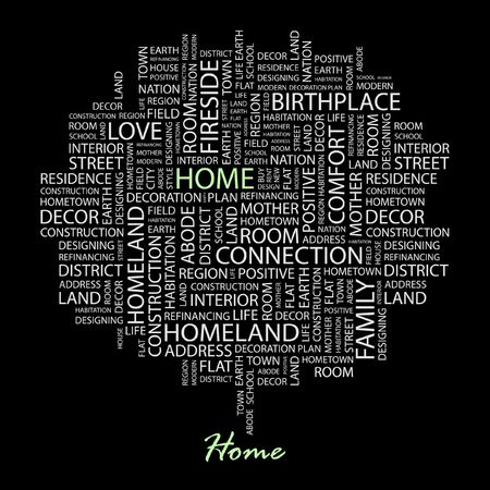 HOME. Word collage on black background.