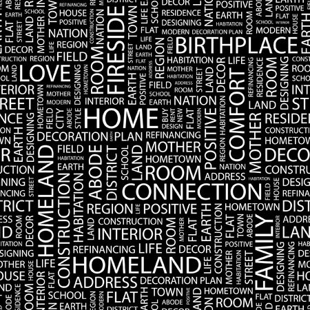 birthplace: HOME. Seamless pattern with word cloud.