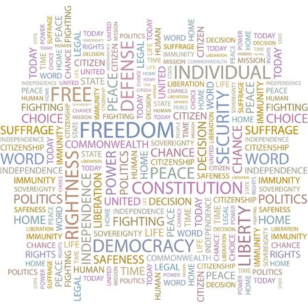 suffrage: FREEDOM. Word collage on white background.  Illustration