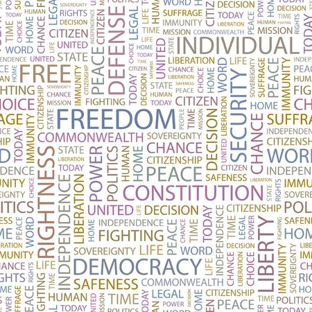 suffrage: FREEDOM. Seamless background. Wordcloud illustration.