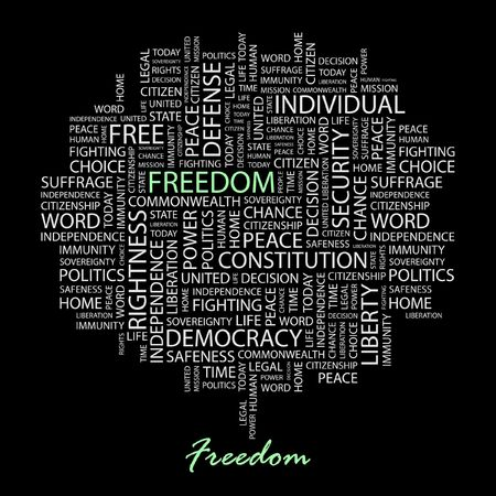 suffrage: FREEDOM. Word collage on black background.