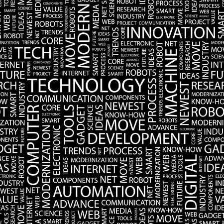 TECHNOLOGY. Seamless pattern with word cloud.