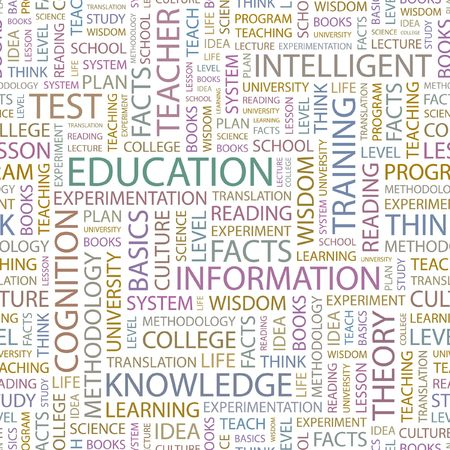 EDUCATION. Seamless background. Wordcloud illustration.   Vector