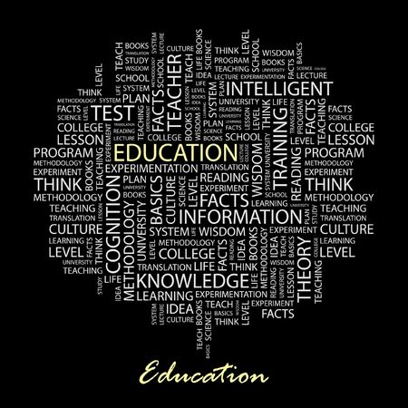 EDUCATION. Word collage on black background. Stock Vector - 6879935