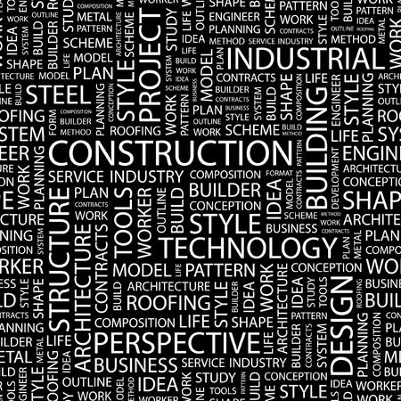 CONSTRUCTION. Seamless pattern with word cloud.   Vector