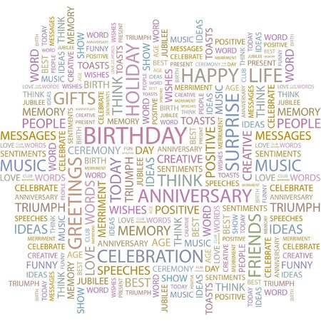 wingding: BIRTHDAY. Word collage on white background. Illustration