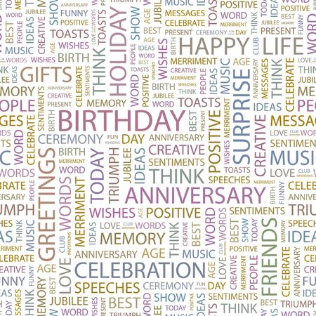 BIRTHDAY. Seamless background. Wordcloud illustration.