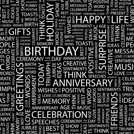 BIRTHDAY. Seamless pattern with word cloud.