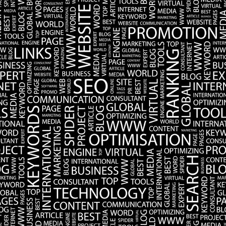 article marketing: SEO. Seamless pattern with word cloud.   Illustration