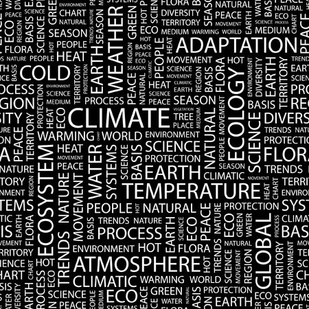 climatic: CLIMATE. Seamless pattern with word cloud.