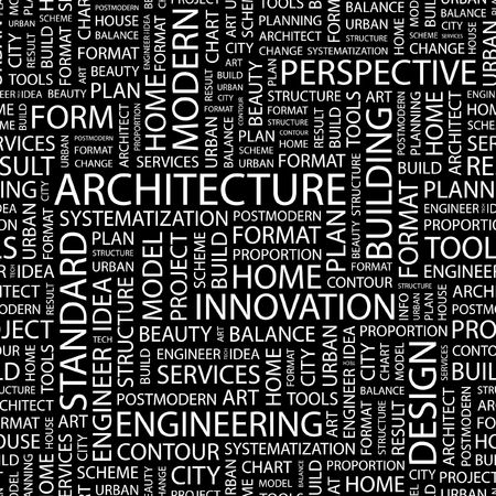 postmodern: ARCHITECTURE. Seamless pattern with word cloud.   Illustration