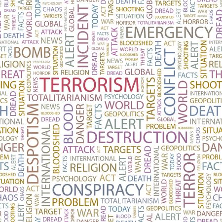 bloodshed: TERRORISM. Seamless background. Wordcloud illustration.