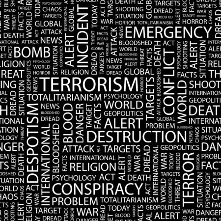 TERRORISM. Seamless pattern with word cloud.   Illustration