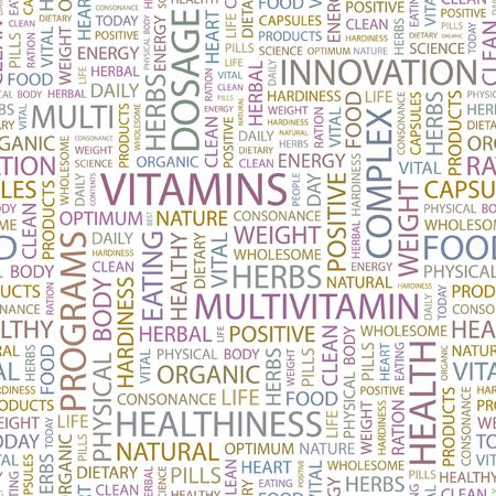 VITAMINS. Seamless background. Wordcloud illustration.   Stock Vector - 6879391