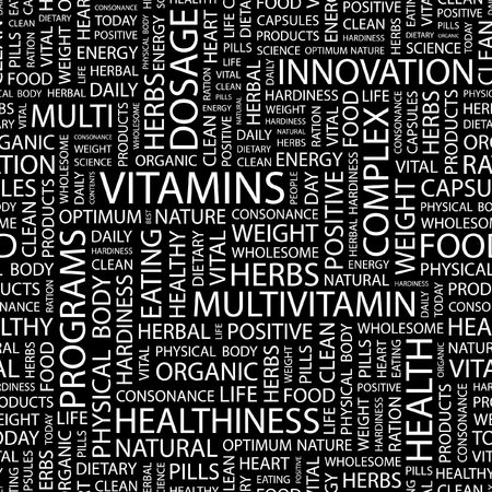 hardiness: VITAMINS. Seamless pattern with word cloud.   Illustration