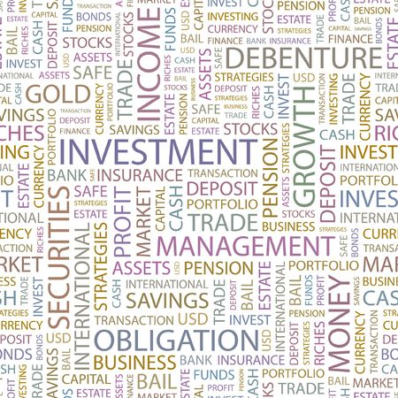 INVESTMENT. Seamless background. Wordcloud illustration.   Vector