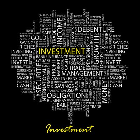 invest: INVESTMENT. Word collage on black background.