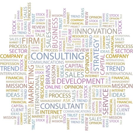 business it: CONSULTING. Word collage on white background.
