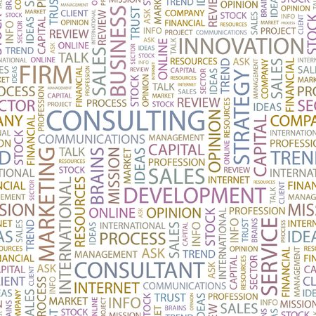 consultants: CONSULTING. Seamless background. Wordcloud illustration.