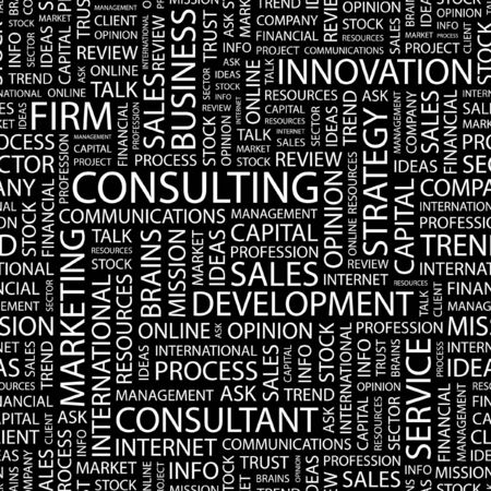 CONSULTING. Seamless pattern with word cloud.   Vector