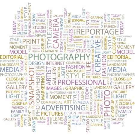 FOTOGRAFIE. Word collage op witte achtergrond.