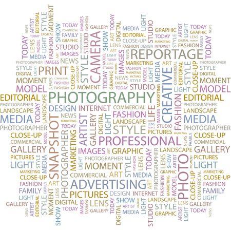 photo artistique: PHOTOGRAPHIE. Mot collage sur fond blanc.  Illustration
