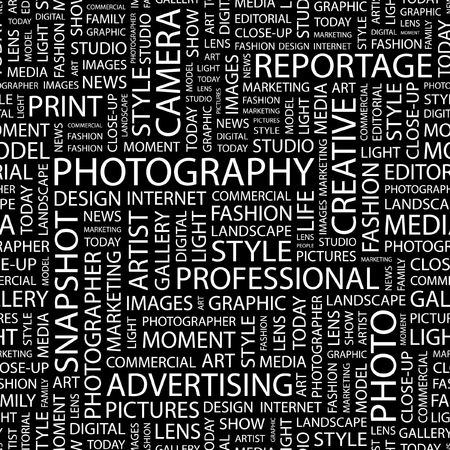 human photography: PHOTOGRAPHY. Seamless pattern with word cloud.   Illustration