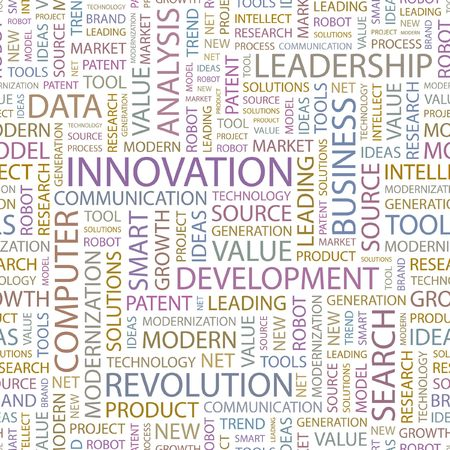 INNOVATION. Seamless background. Wordcloud illustration.   Vector