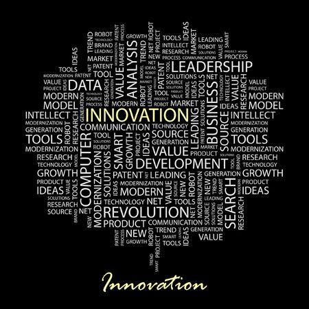 innoveren: INNOVATIE. Word collage op een zwarte achtergrond.