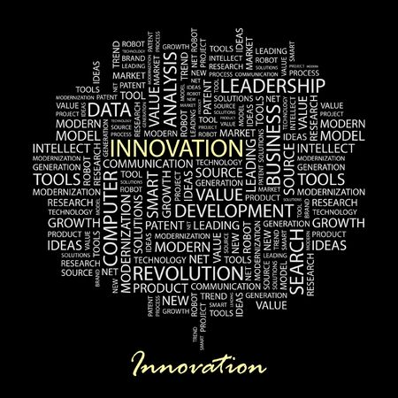 development process: INNOVATION. Word collage on black background.  Illustration