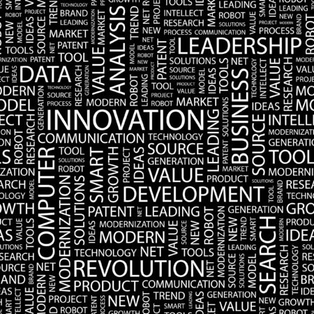 innovate: INNOVATION. Seamless pattern with word cloud.