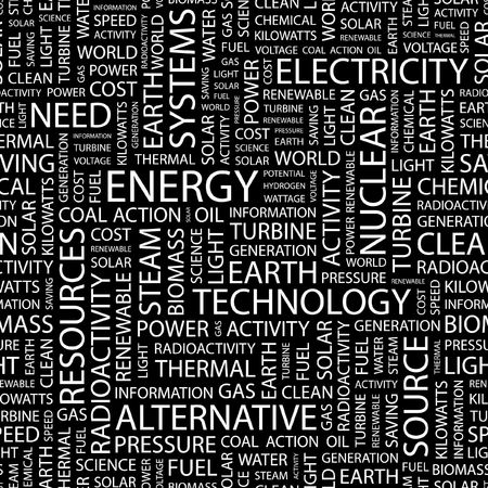 steam turbine: ENERGY. Seamless pattern with word cloud.