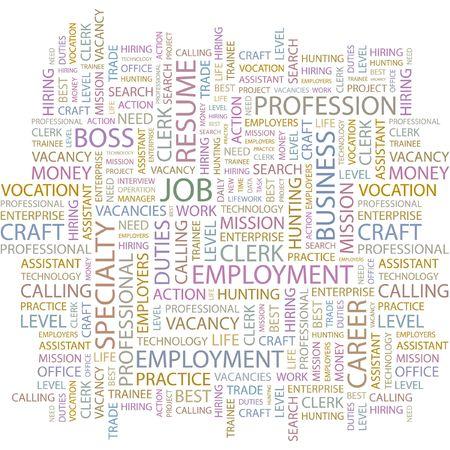 lifework: JOB. Word collage on white background.