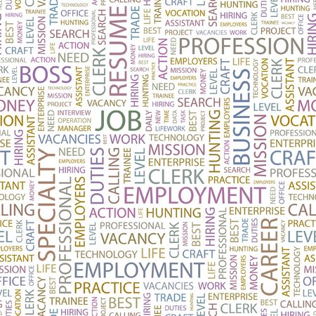 JOB. Seamless background. Wordcloud illustration.   Vector