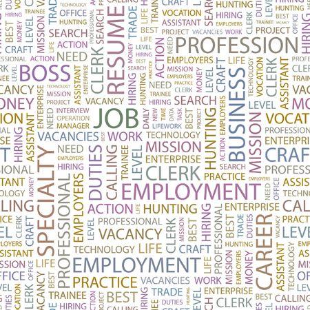 lifework: JOB. Seamless background. Wordcloud illustration.