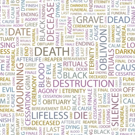 decease: DEATH. Seamless background. Wordcloud illustration.