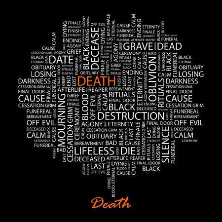 decease: DEATH. Word collage on black background. Illustration