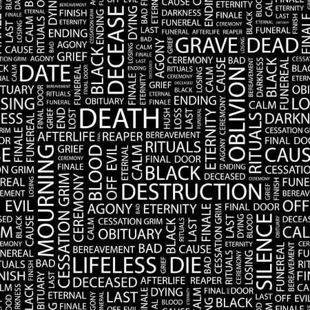 decease: DEATH. Seamless pattern with word cloud.