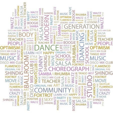 word lesson: DANCE. Word collage on white background.