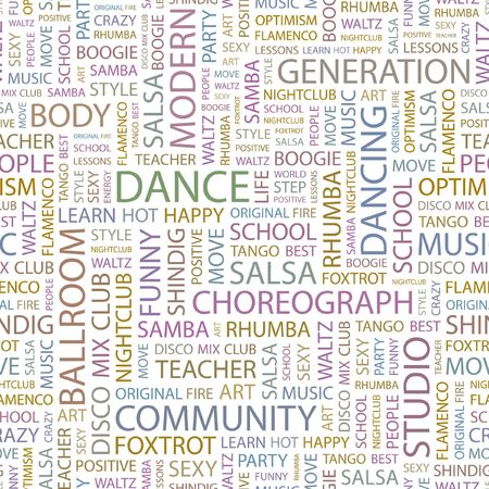 DANCE. Seamless background. Wordcloud illustration.   Stock Vector - 6879878