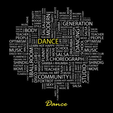 DANCE. Word collage on black background.  Vector
