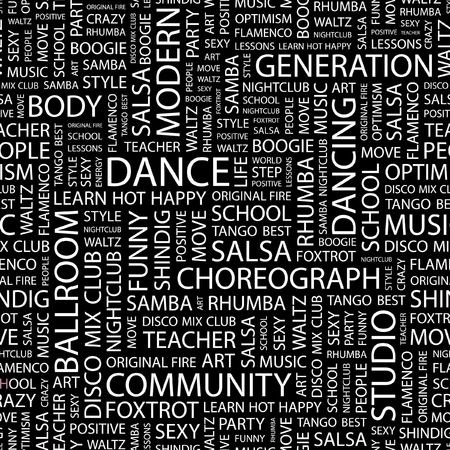 DANCE. Seamless pattern with word cloud.   Vector