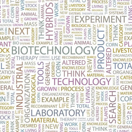 nucleic: BIOTECHNOLOGY. Seamless background. Wordcloud illustration.