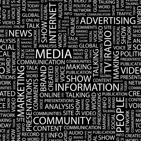 digital news: MEDIA. Seamless pattern with word cloud.