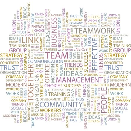 trade union: TEAM. Word collage on white background. Illustration