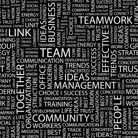 work life: TEAM. Seamless pattern with word cloud.   Illustration