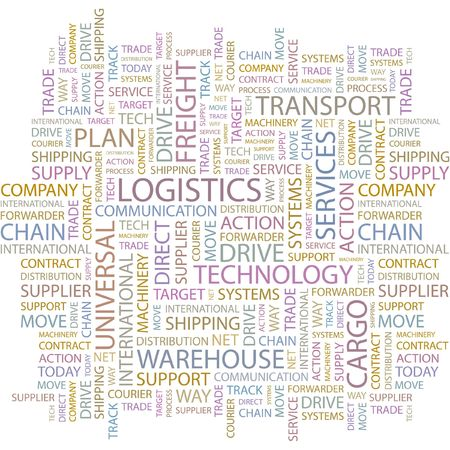 LOGISTICS. Word collage on white background. Vector