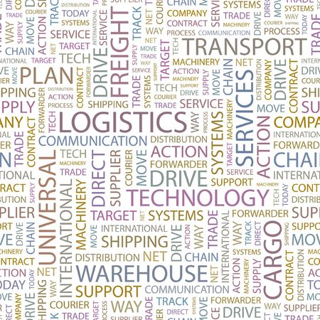 warehousing: LOGISTICS. Seamless background. Wordcloud illustration.