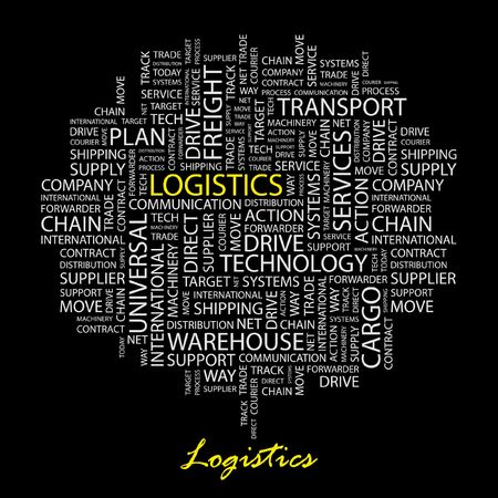 warehousing: LOGISTICS. Word collage on black background.