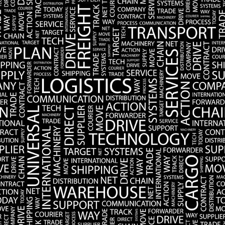LOGISTICS. Seamless pattern with word cloud.   Vector